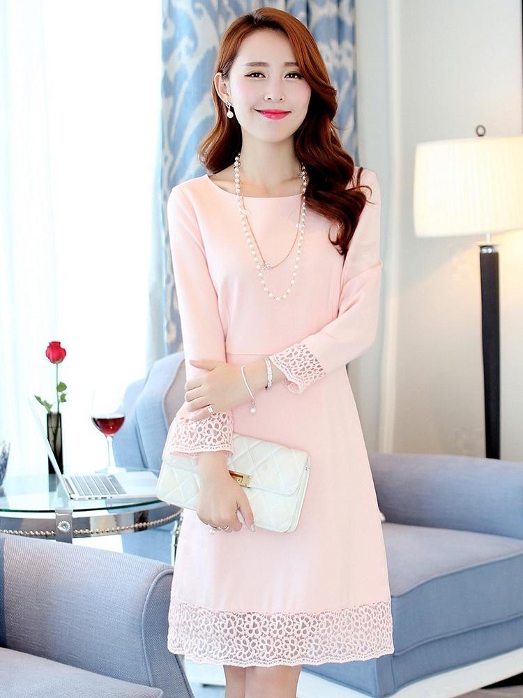袖口花边修身连衣裙粉色
