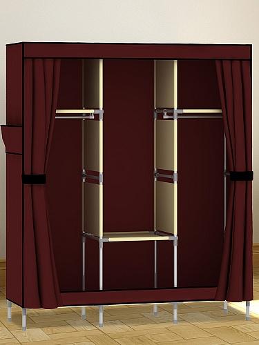 时尚简易窗帘门布衣柜 酒红色