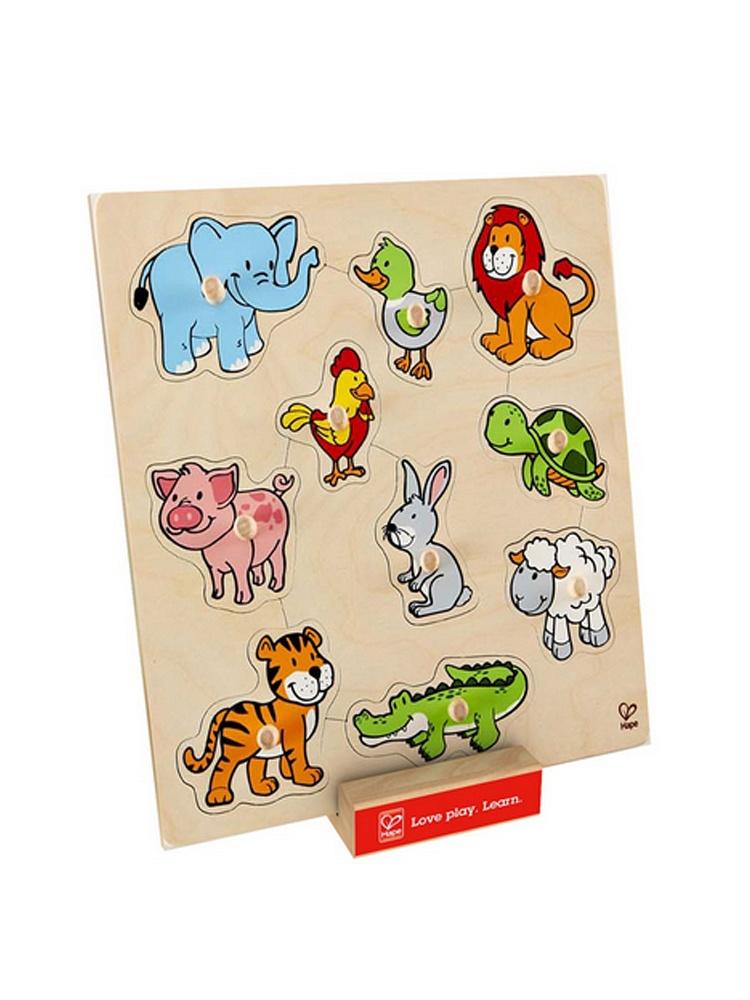 系列动物大抓手拼图e6318】十种动物形象置于拼板中