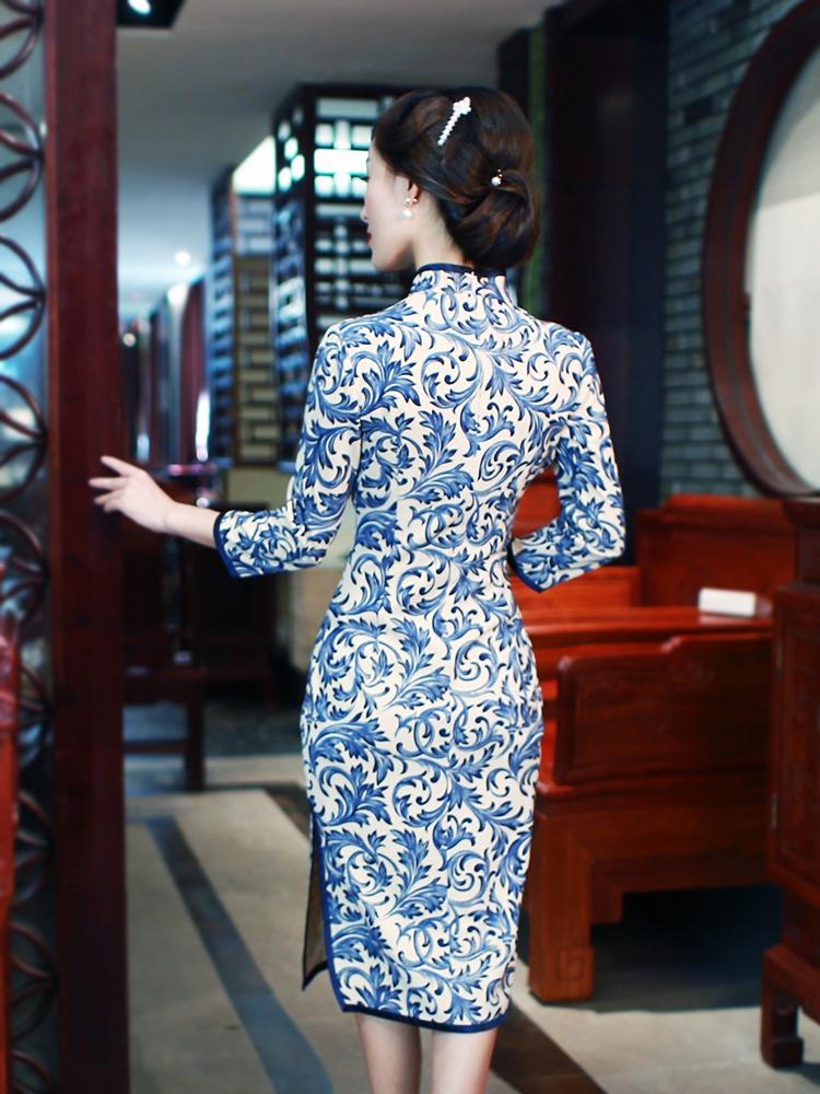 如意风 原创中长款旗袍裙秋装新款2015中袖民国旗袍