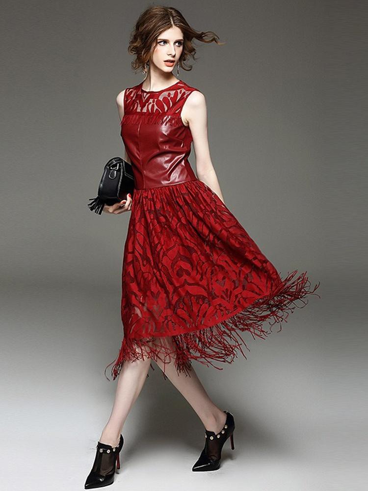 红色流苏裙_