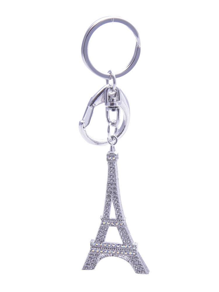 精致璀璨满钻巴黎铁塔钥匙圈挂件