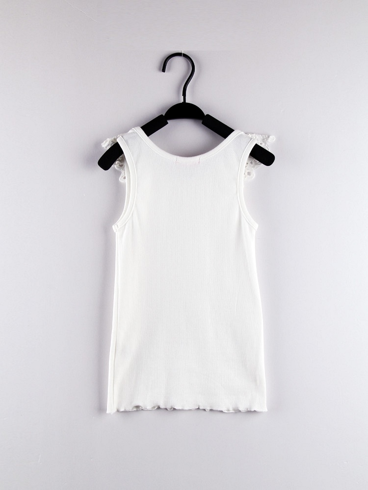 女童花边领褶皱t恤白色
