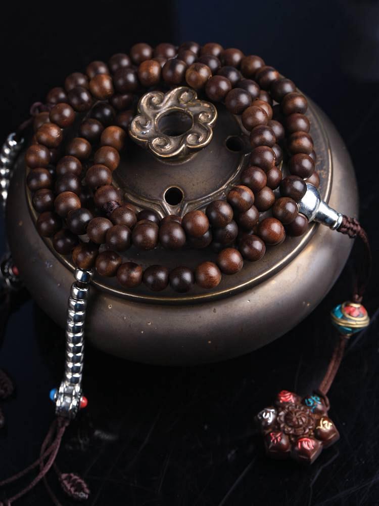 藏式桃木珠配925银佛头长手串项链