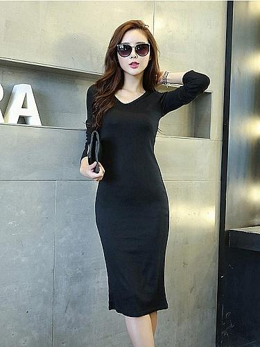 黑色 春季针织长袖裙长裙包臀裙
