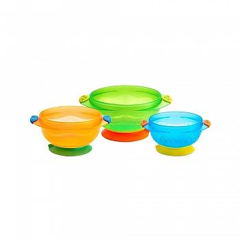 美国•munchkin 满趣健吸盘碗-3个装(适合六个月以上宝宝使用)