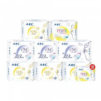 中国•ABC棉柔卫生巾组合装8包 加送1包迷你巾  (日32片+夜9片+迷你巾8片+送迷你巾8片)