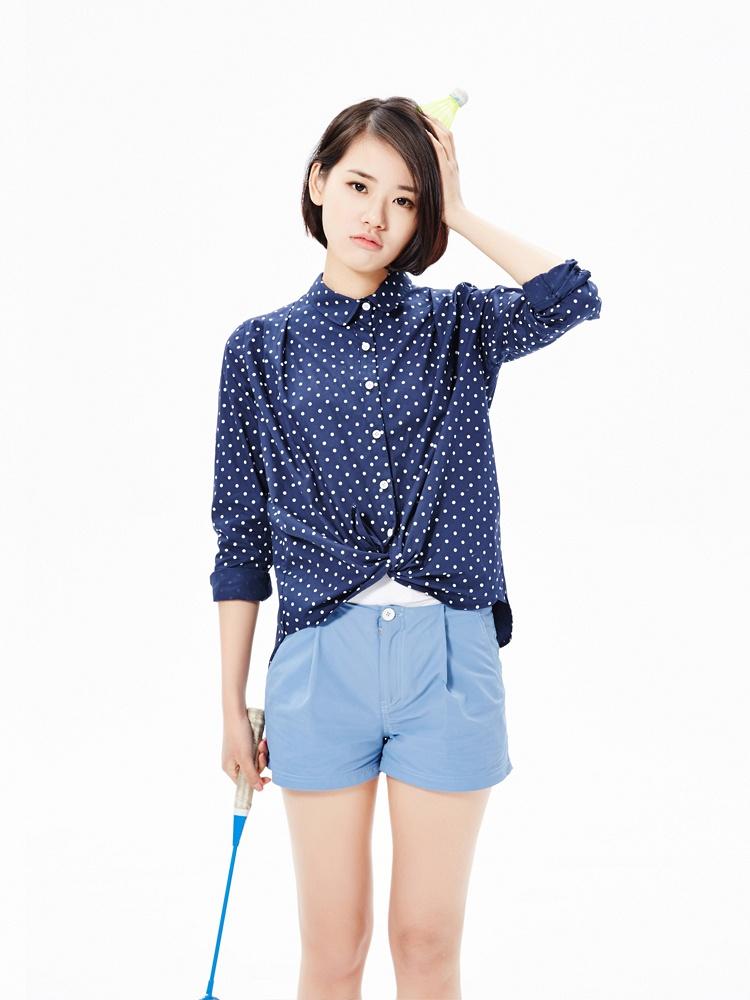 藏蓝色宽松a型波点衬衫