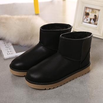 冬季新款PU短筒防水靴子黑色