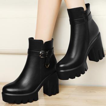 马丁靴潮女短靴秋冬季高跟女鞋