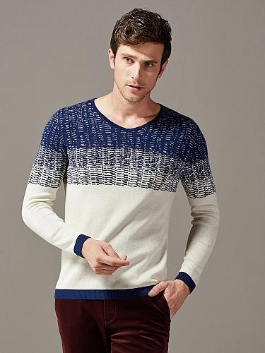 韩版v领时尚男士针织衫