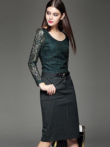 色秋季立体剪裁时尚连衣裙