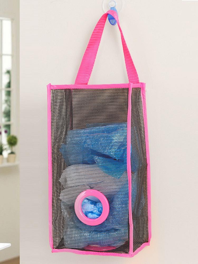 采用优质pvc网格布,结实耐用,用来收纳购物后的塑料袋