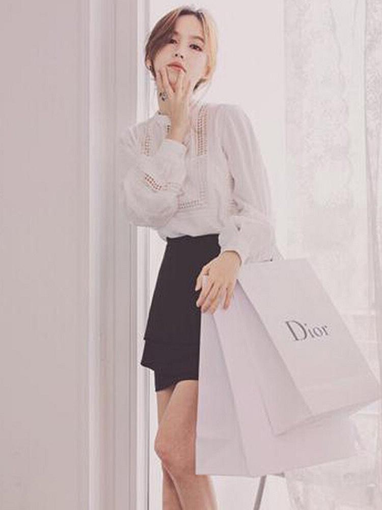 长袖花边衬衫两件套连衣裙