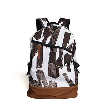 中国•休闲菱格棕白学生书包背包