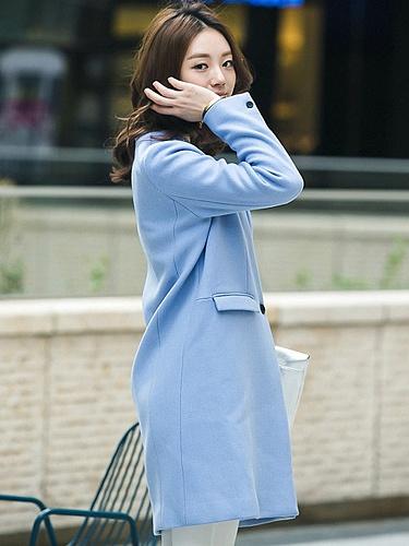 假西装领设计天蓝色毛呢大衣外套