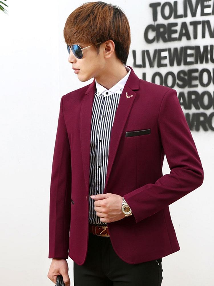 时尚纯色男士休闲西装酒红