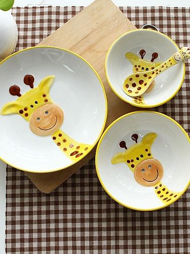 homee纯手绘动物碗组合装-长颈鹿