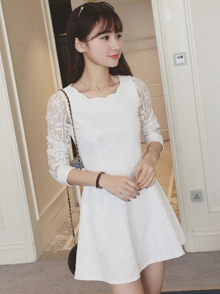 甜蜜花园白色花边蕾丝连衣裙