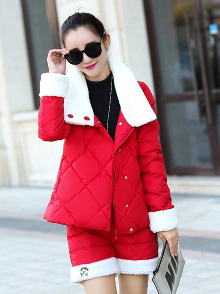 红色2015新款女装时尚棉衣套图片