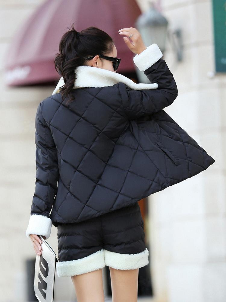 黑色2015新款女装时尚棉衣套图片