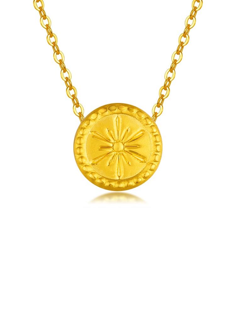 黄金圆形花纹吊坠 钮扣系列