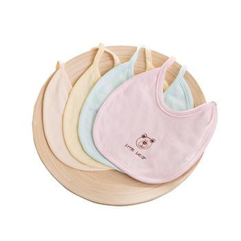 中国•澳斯贝贝婴儿棉素色围嘴5条装