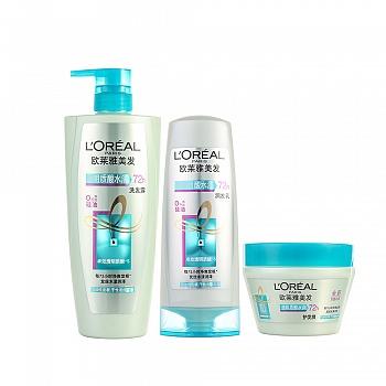 法国•欧莱雅 (L'Oreal)透明质酸水润明星套装(洗发露700ml+润发乳400ml+护发膜250ml)
