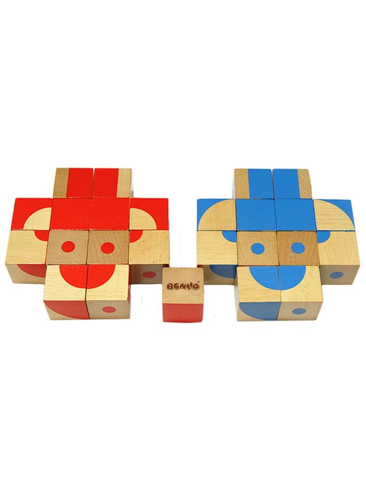 以及一本拼图图册,每一块积木上绘有蓝色或红色图案