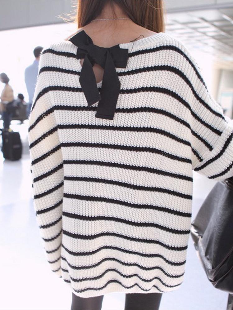 平行线上的蝴蝶结 黑白条纹毛衣