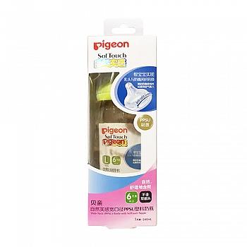 贝亲-自然实感宽口径PPSU塑料奶瓶240ml配L?#22871;歟?#32511;色瓶帽/ L size)AA93
