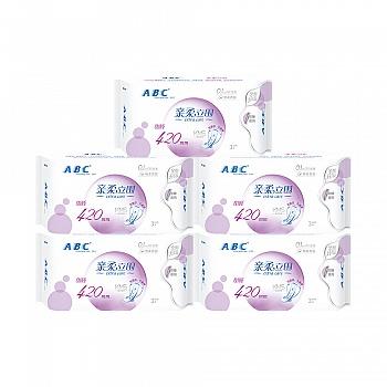 中国•ABC亲柔立围加长轻透薄甜睡夜用卫生巾420mm含KMS健康配方5包(15片)