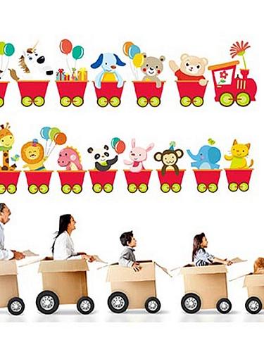 动物小火车儿童房背景踢脚线墙贴