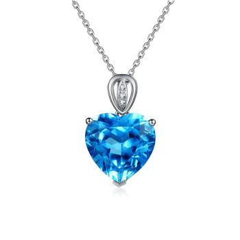 今上珠宝 18K金钻石吊坠女 托帕石紫水晶海洋之心