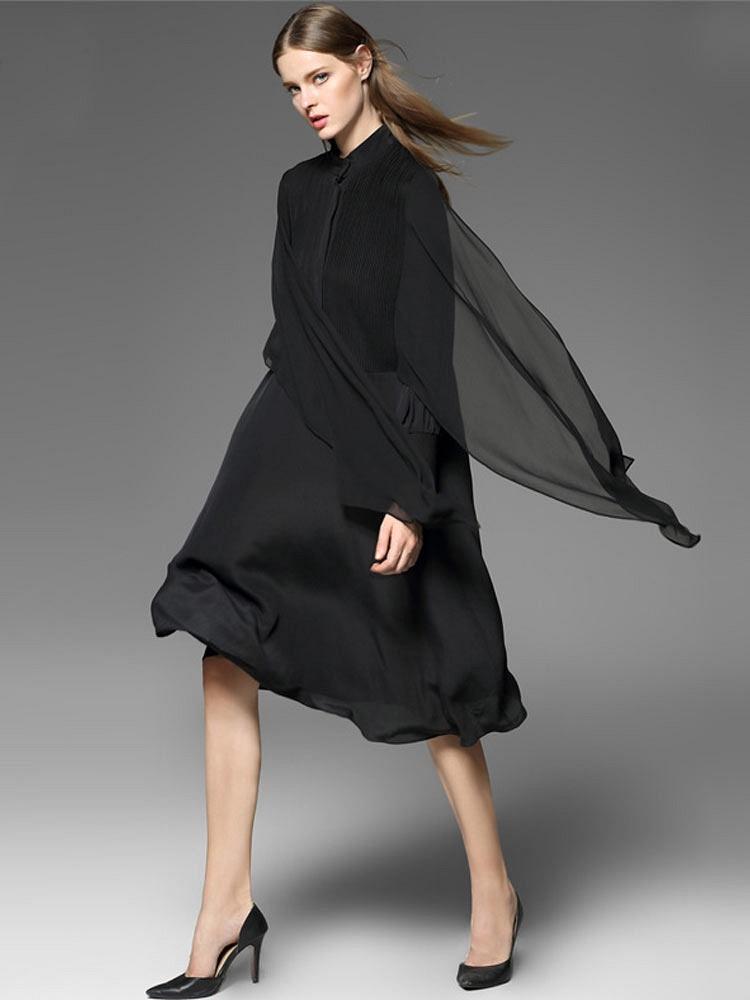黑色中长裙高端真丝连衣裙pkec158
