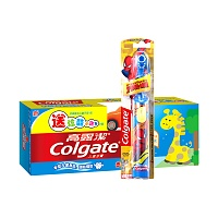 高露洁(Colgate)儿童牙膏(2-5岁)40g苹果味送赠品小跑车+儿童电动牙刷(男孩版)