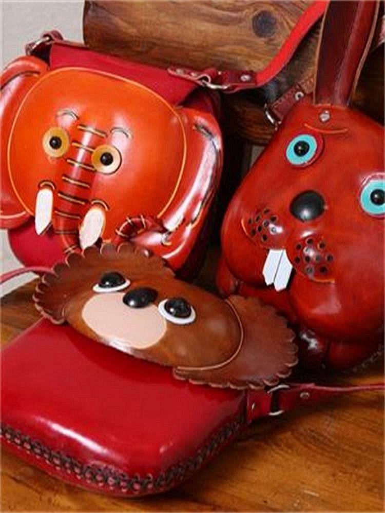 复古文艺小动物包包 酒红色r0