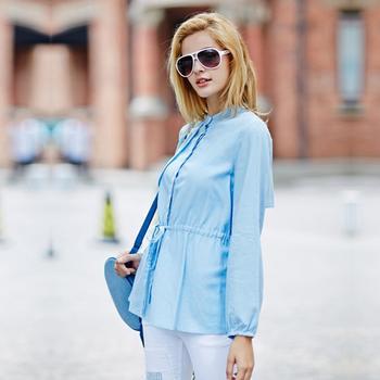 立领腰部系带衬衫浅蓝