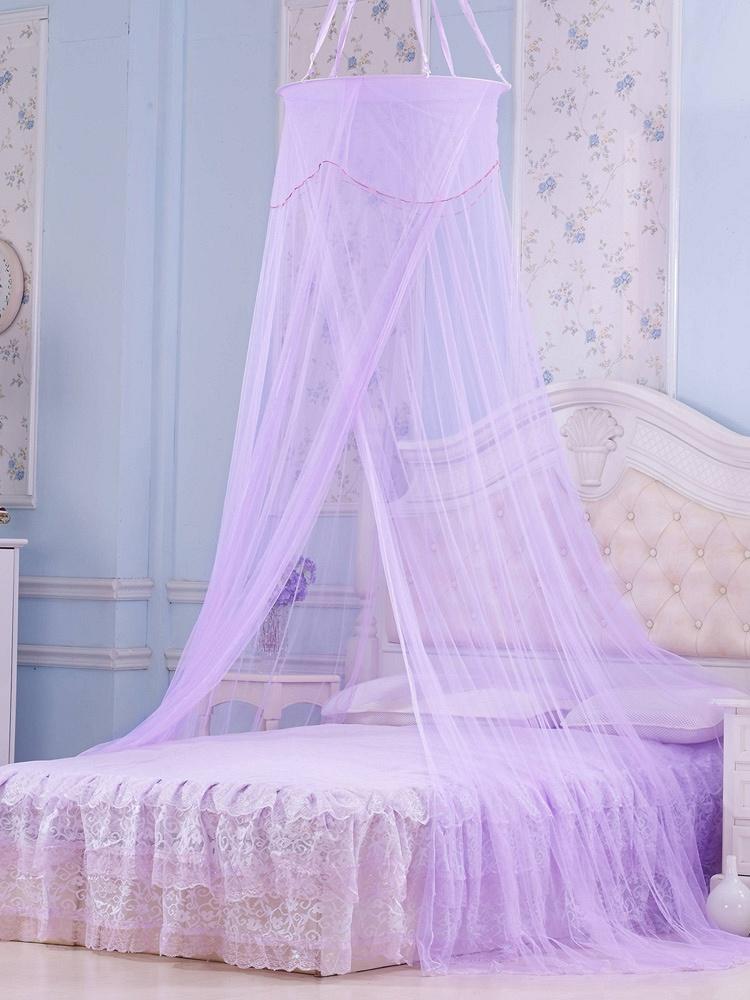 欧式圆形吊顶蚊帐花好月圆紫色