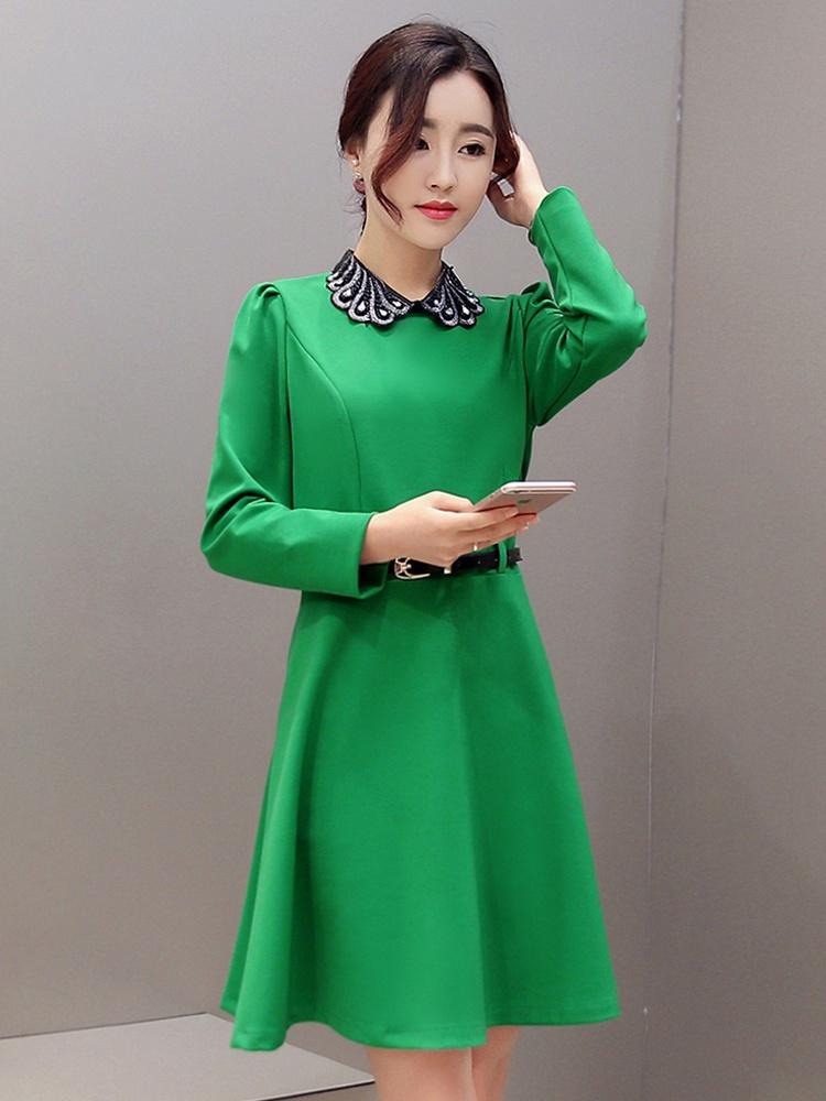 韩版修身聚美花边领口系带高腰连衣裙