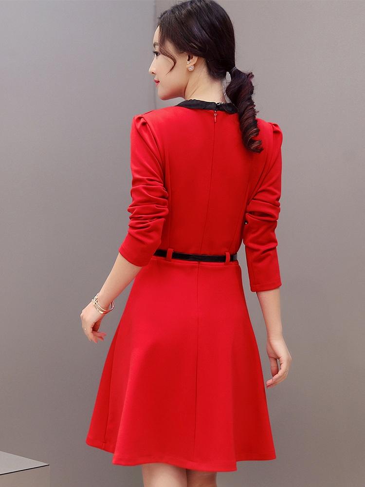 韩版聚美花边领口纯色精美腰带高腰连衣裙