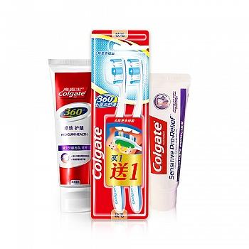 美国•高露洁(Colgate) 360°卓效护龈牙膏 140g+ 360°全面口腔清洁牙刷两支装+抗敏专家多效防护牙膏(110g)