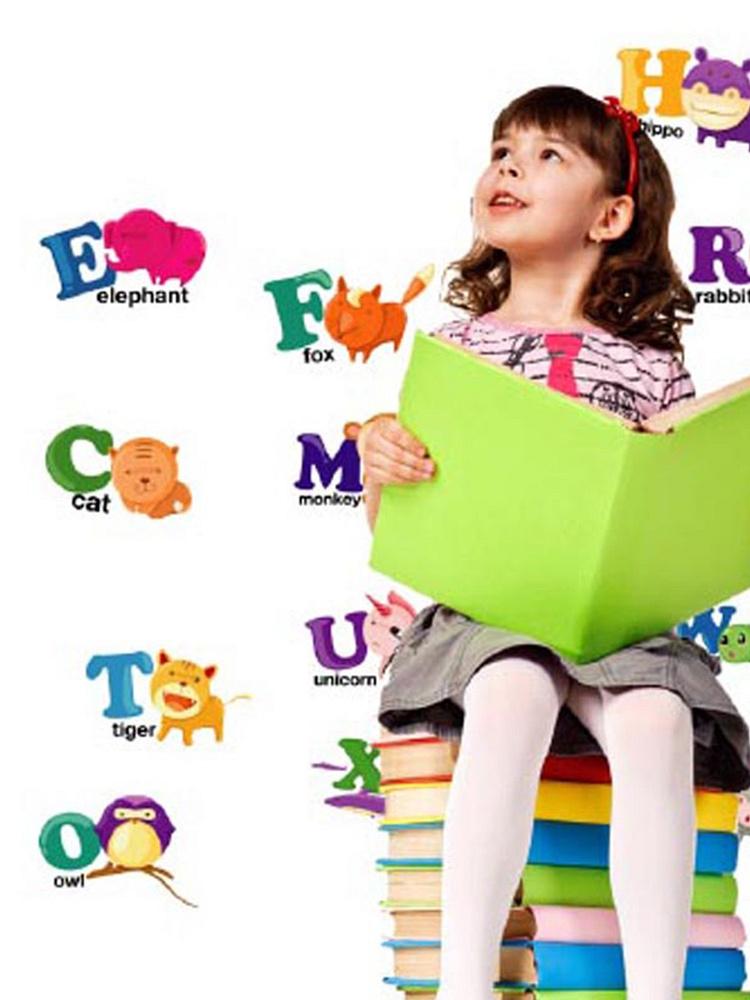 动物英文字母儿童早教学习背景墙