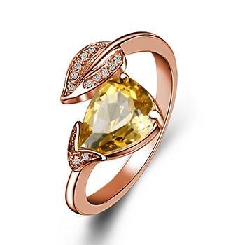 金枝玉叶925银镶黄水晶戒指