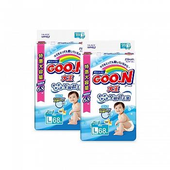 日本•GOO.N® 大王环贴式纸尿裤 维E系列 L68片 电商专供*2包