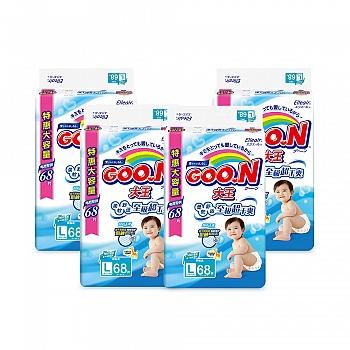 日本•GOO.N® 大王环贴式纸尿裤 维E系列 L68片 电商专供*4包