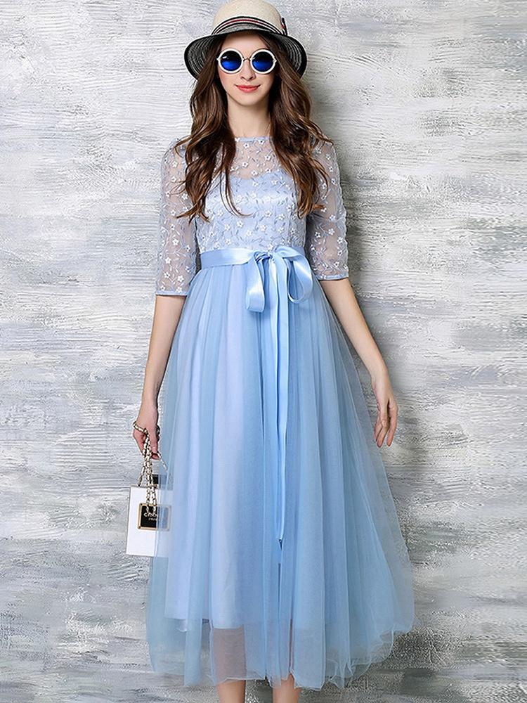 刺绣大摆晚礼服连衣裙浅蓝色