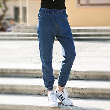时尚宽松水洗休闲牛仔裤蓝色