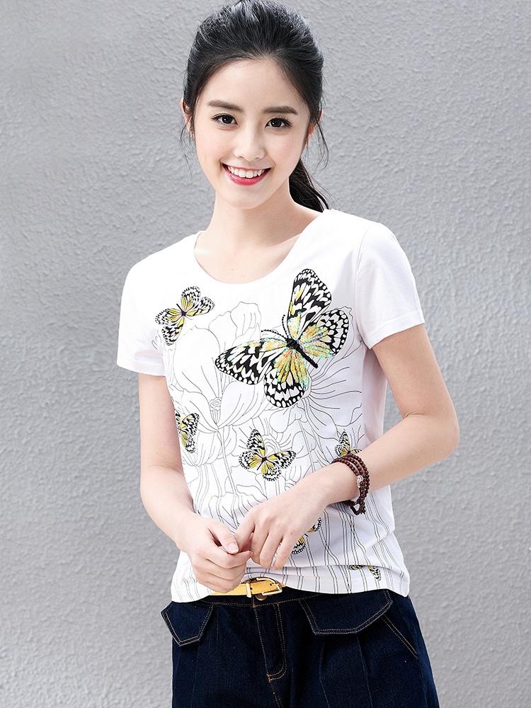 夏季蝴蝶亮片图案修身短袖t恤女