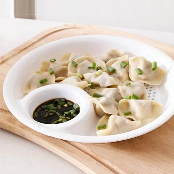 中国•带醋碟吃水饺盘子控水果盘*3个装
